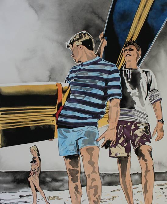 Surfer Boys  2010  Acryl auf Papier, auf Leinwwand kaschiert  106 x 78 cm ©Holger Zimmermann.jpg