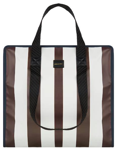 ASOS Large Shopper Bag In White And Burgundy Stripe
