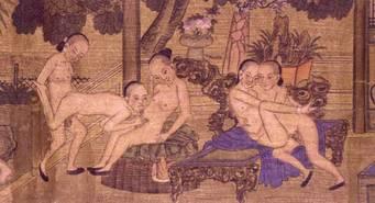 Wikipedia / Junge Männer im erotischen Spiel (Handrolle aus Peking, spätes 19. Jh.)