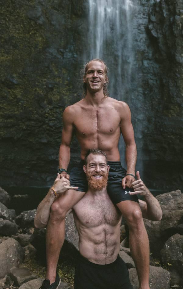 Männer, Natur, Wasserfall