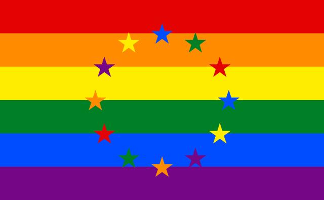 Die EU Flagge mit dem Regenbogen