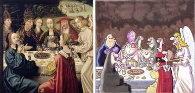 """Links: Ursula speist mit drei Gefährtinnen beim Papst, Bild von einem Ursulaaltar, Wallraf-Richartz-Museum, FOTO: RBA; Rechts: Bild aus dem Comic """"Elftausend Jungfrauen"""", Köln 2012, copyright: Rowohlt Verlag Reinbek bei Hamburg"""