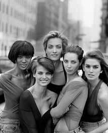 Naomi Campbell, Tatjana Patitz, Linda Evangelista und Cindy Crawford