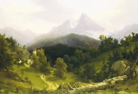 August Wilhelm Julius Ahlborn: Landschaft mit Watzmann, 1836, Öl auf Leinwand, 54 x 79 cm, Museum Georg Schäfer, Schweinfurt